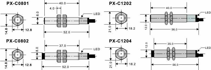 px-c type tubular proximity sensor